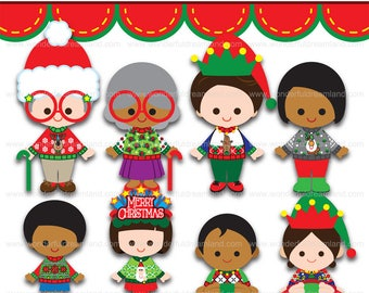 Christmas 9 Ugly Sweater Family PNG SVG EPS Vector Instant Download Printable Cliparts Clip Arts Digital File Scrapbook Kit