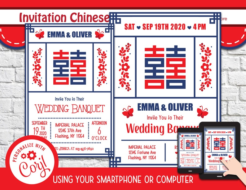 Chinese Wedding Invitation Calendar DOC PDF JPG Instant Download Printable  Digital Template File