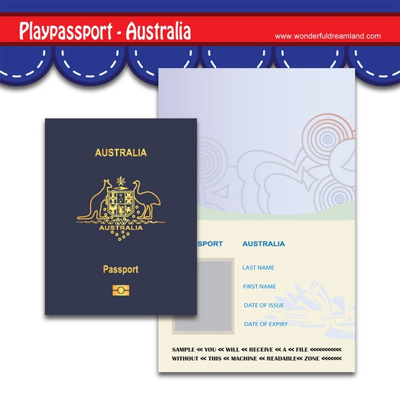 picture regarding Printable Passport Template known as Engage in Pport Australia Document PDF JPG Template Invitation Quick Obtain Printable Electronic Report