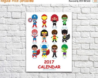 50% OFF 2017 Superhero Calendar 1.2 - Instant Download Printable Digital PDF File