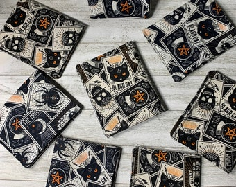 """Black cat tarot vaccination card holder, pouch clear vinyl cotton unisex, vaccination card protector, card holder 4""""x3"""""""