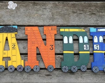 """Hand-painted 5.5"""" Tall Wood Train Letters"""