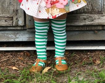 Knee High Socks, Baby Kids Christmas Green and White Stripe Socks St Patrick's Day