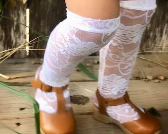 Knee High Socks, Baby Kids WHITE Floral Lace Socks