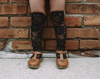 Knee High Socks, Baby Kids BLACK Floral Lace Socks