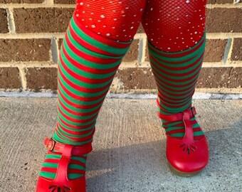 Knee High Socks, Baby Kids Christmas Red and Green Stripe Socks