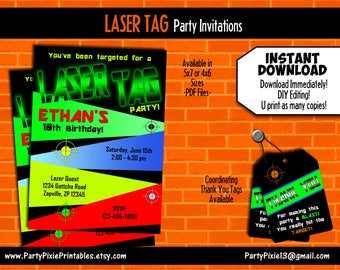 INSTANT DOWNLOAD Laser Tag Party Invitation, 5x7 or 4x6. Thank You Tags - DIY Editing - Personalized and Printable Digital Files