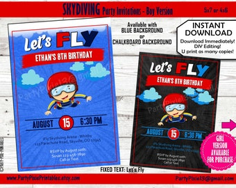 0e604595f INSTANT DOWNLOAD Skydiving Indoor Outdoor ifly Party Invitations - Boy  Version 5x7 4x6 DIY Personalized and Printable Digital Files