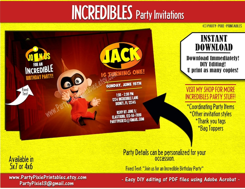 INSTANT DOWNLOAD Incredibles Jack Birthday Party