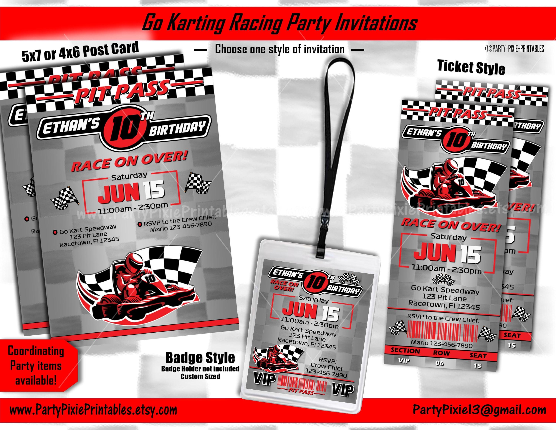Invitation Cards Birthday as Formula Ticket Race car Car Kart Racing Driver