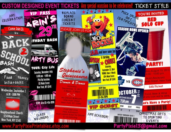 custom designed event tickets any occasion any event etsy