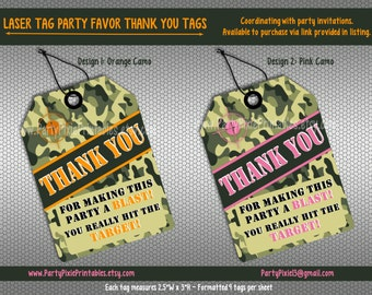 LASER TAG Party Favor Thank You Tags - Instant Download - Coordinating with Invitations - Printable Digital File