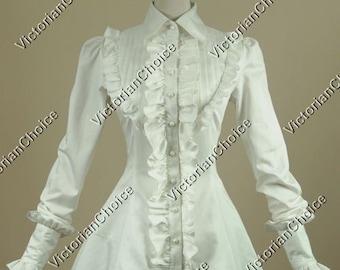 White Ladies Victorian Edwardian Suffragette Blouse Top Steampunk Vintage Romantic Ruffled Long Sleeve Cotton Shirt