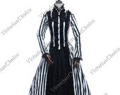 Gothic Victorian Steampunk Punk Black and White Striped Dress Women Beetlejuice Comic Con Theatrical Costume
