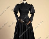Women Black Victorian Maid Dickens Faire Civil War Little Women Frock Dress Theatrical Costume