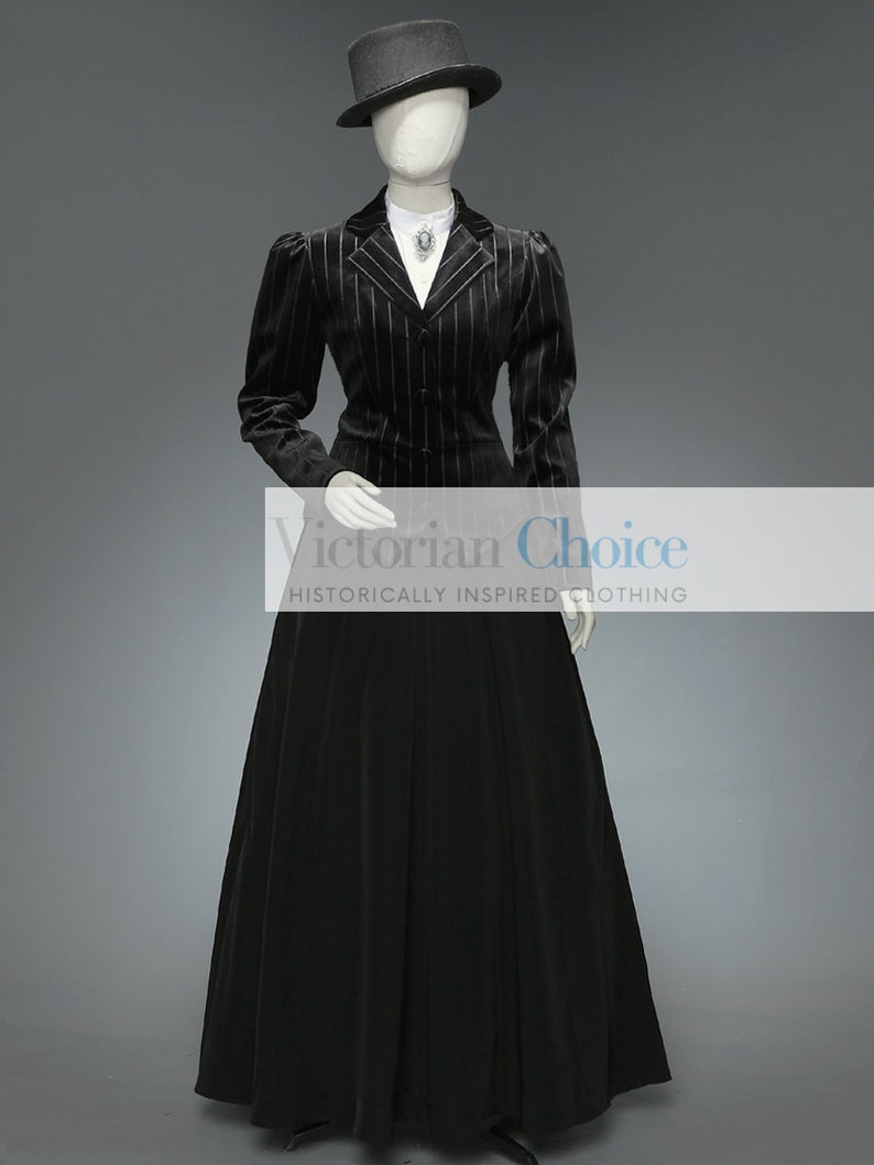 Victorian Dresses | Victorian Ballgowns | Victorian Clothing Women's Black Victorian Edwardian 3PC Dress Black Edwardian Suit Suffragists Dress Suit Steampunk Costume Witch Costume for Women $209.00 AT vintagedancer.com