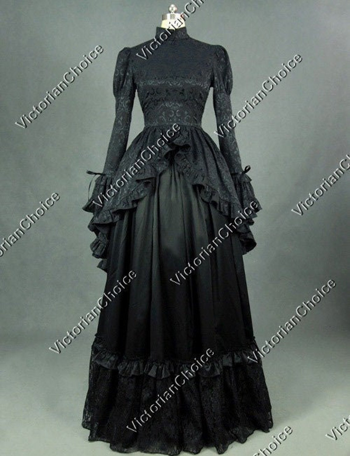 Victorian Dresses | Victorian Ballgowns | Victorian Clothing     Gothic Victorian Edwardian Black Brocade Dress Ball Gown Black Miss of Darkness Costume Adams Family Morticia Addams Costume for Halloween $195.00 AT vintagedancer.com