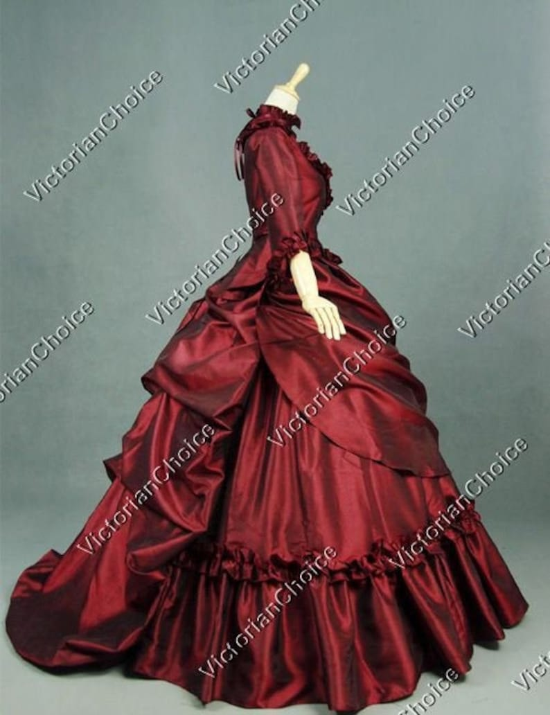 Victorian Dresses | Victorian Ballgowns | Victorian Clothing Victorian Bustle Dress Christmas Holiday Gown Vintage Prom Dress Mrs Claus Bustle 5-PC Dress Masquerade Gown Taffeta Theater Costume $225.00 AT vintagedancer.com