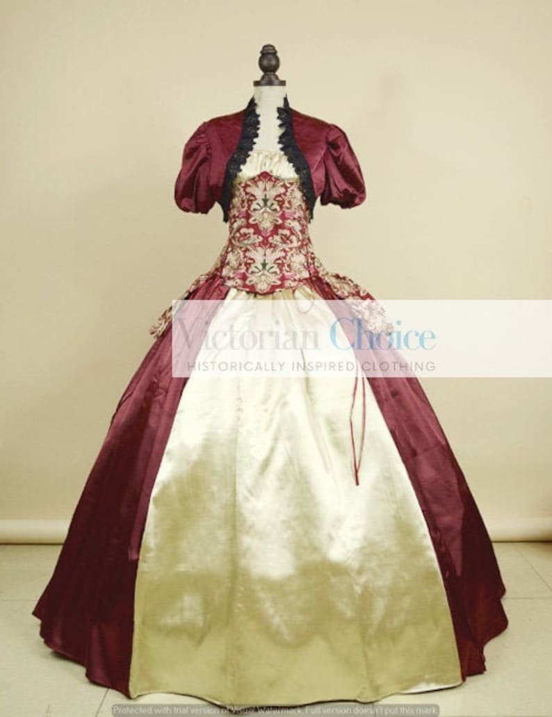 Victorian Dresses | Victorian Ballgowns | Victorian Clothing     Victorian Bustle Gown Royal Corset 4PC Floral Fantasy Evening Gown Period Dress Royal Queen Dress Theater Costume $235.00 AT vintagedancer.com