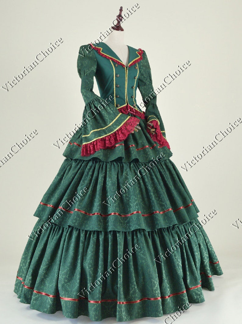 Victorian Dresses | Victorian Ballgowns | Victorian Clothing Victorian Civil War Belle Scarlett OHara Christmas Holiday Dickens Carol Green Masquerade Ball Gown Dress Women Theatrical Costume $169.00 AT vintagedancer.com
