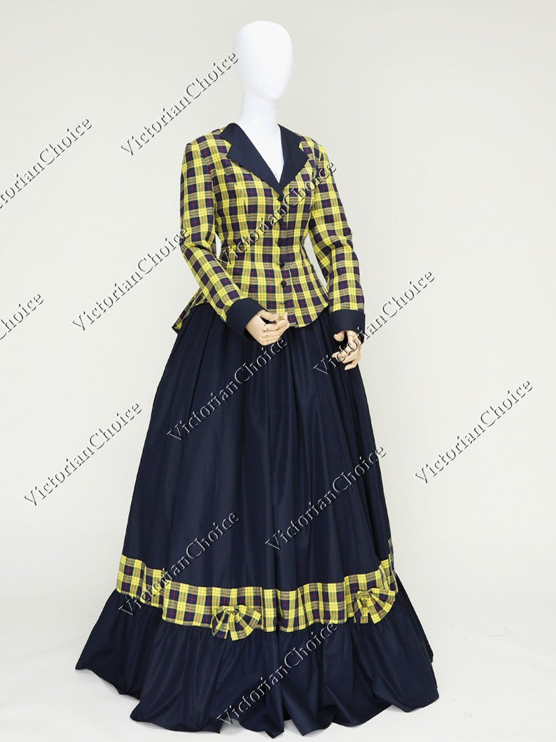 Victorian Dresses | Victorian Ballgowns | Victorian Clothing Civil War Victorian Yellow Charles Dickens Faire Christmas Carol Caroler Tartan Dress Theater Women Costume $165.00 AT vintagedancer.com
