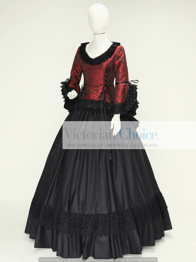 Steampunk Dresses   Women & Girl Costumes     Adult Complete Outfit Victorian Gothic Dress Steampunk Outfit Burgundy and Black Brocade Theatrical Costume Reenactment Cosplay Gown $175.00 AT vintagedancer.com