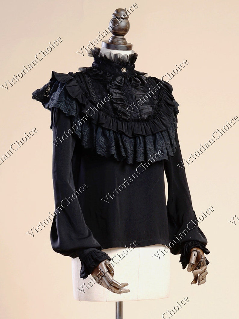 Victorian Clothing, Costumes & 1800s Fashion Victorian Edwardian Vintage Romantic Black Steampunk Ruffled High Collar Long Sleeve Blouse Steampunk $59.95 AT vintagedancer.com