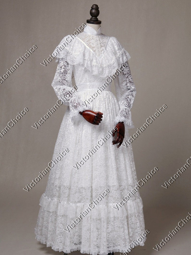 Victorian Wedding Dresses, Shoes, Accessories High Quality White Victorian Edwardian 1900s Vintage Lace Overlay Wedding Dress Bridal Gown $159.00 AT vintagedancer.com