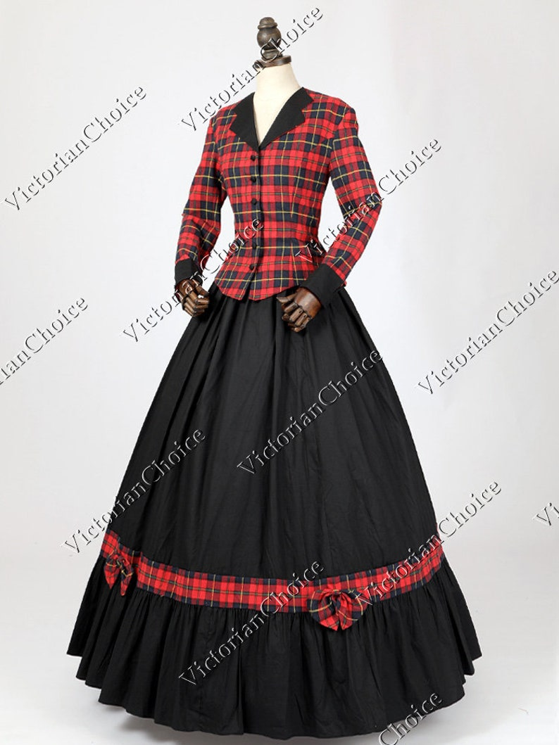 Victorian Clothing, Costumes & 1800s Fashion Civil War Victorian Charles Dickens Christmas Caroler Tartan Dress Theater Women Halloween Costume $165.00 AT vintagedancer.com