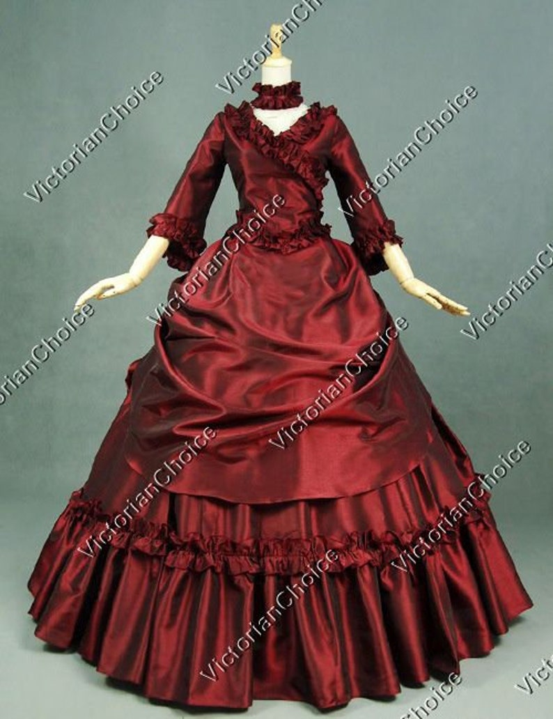 Victorian Dresses | Victorian Ballgowns | Victorian Clothing Burgundy Victorian Gothic Bustle Taffeta 5-PC Masquerade Ball Gown Theater High Quality Dark Queen Dress Vampire Halloween Costume $225.00 AT vintagedancer.com
