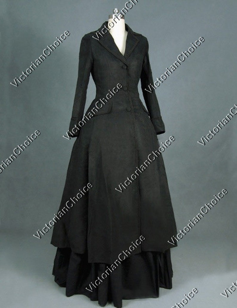 Victorian Clothing, Costumes & 1800s Fashion Victorian Edwardian Sherlock Holmes Black Military Theater Steampunk Coat Dress Witch Halloween Costume $175.00 AT vintagedancer.com