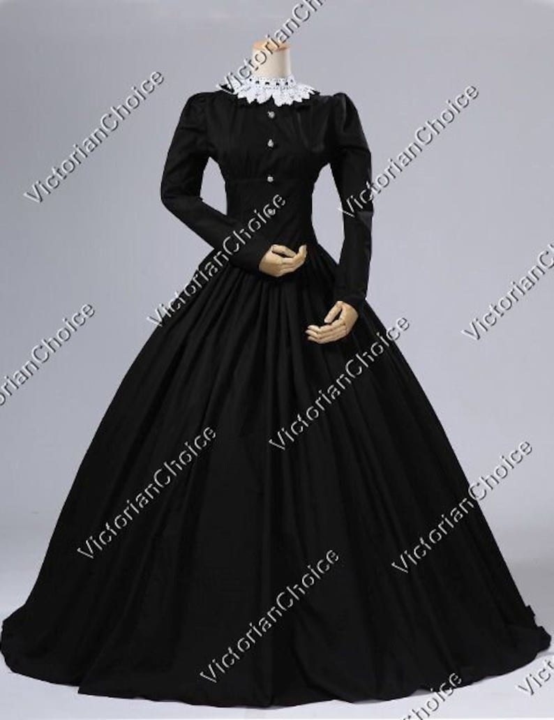 Victorian Dresses | Victorian Ballgowns | Victorian Clothing     Victorian Gothic Black Dress Black Maid Dress Witch Halloween Costume Addams Family Costume Morticia Addams Dress Black Mourning Dress $175.00 AT vintagedancer.com