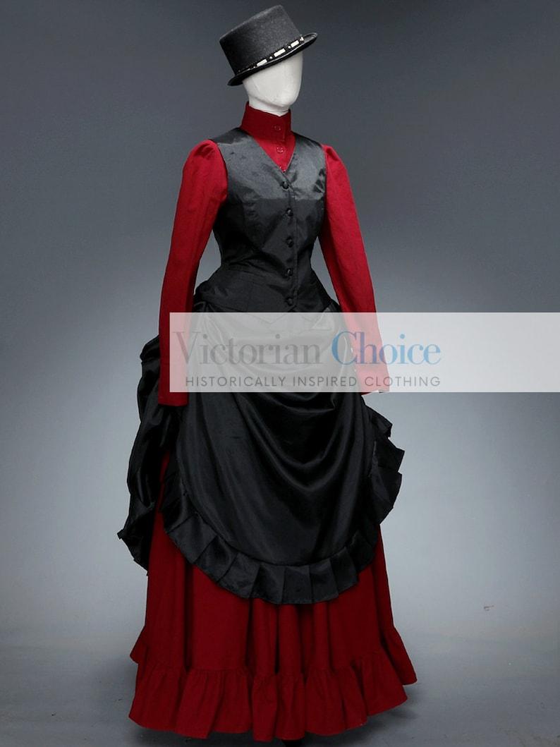 Victorian Dresses | Victorian Ballgowns | Victorian Clothing     Victorian 1890 Gown Gothic Black Red Bustle Dress Victorian Vampire Steampunk Dress  Riding Habit Voodoo Magic Halloween Costume $235.00 AT vintagedancer.com
