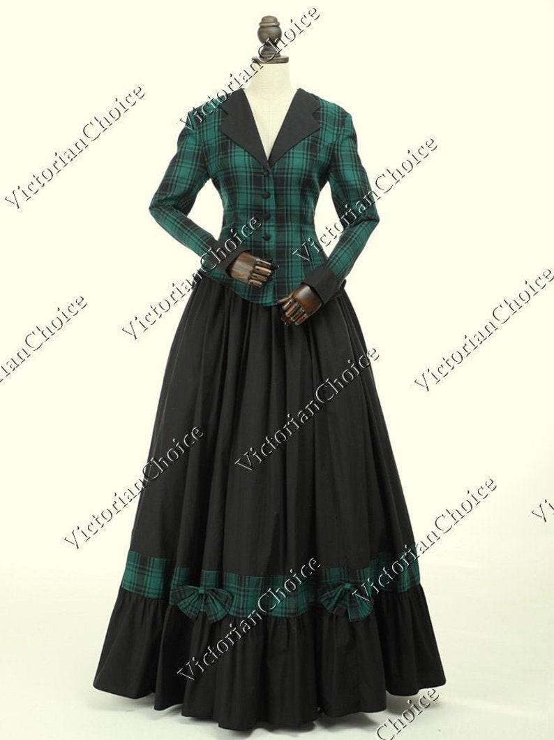 Victorian Dresses | Victorian Ballgowns | Victorian Clothing Women Civil War Victorian Charles Dickens Faire Christmas Caroling Caroler Tartan Dress Theater Costume $179.00 AT vintagedancer.com
