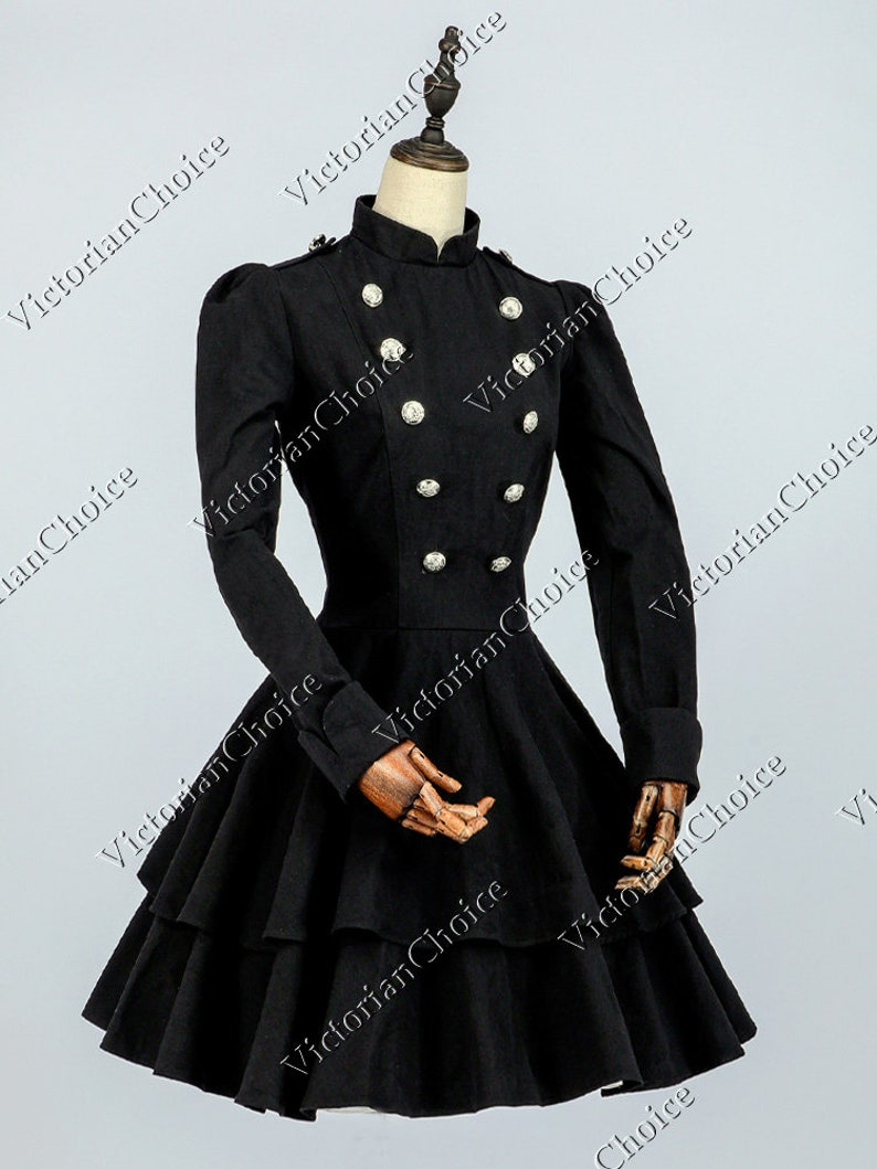 Steampunk Jacket | Steampunk Coat, Overcoat, Cape Victorian Black Lolita Mad Hatter Military Dress Theater Steampunk Punk Cosplay Witch Halloween Costume $97.00 AT vintagedancer.com