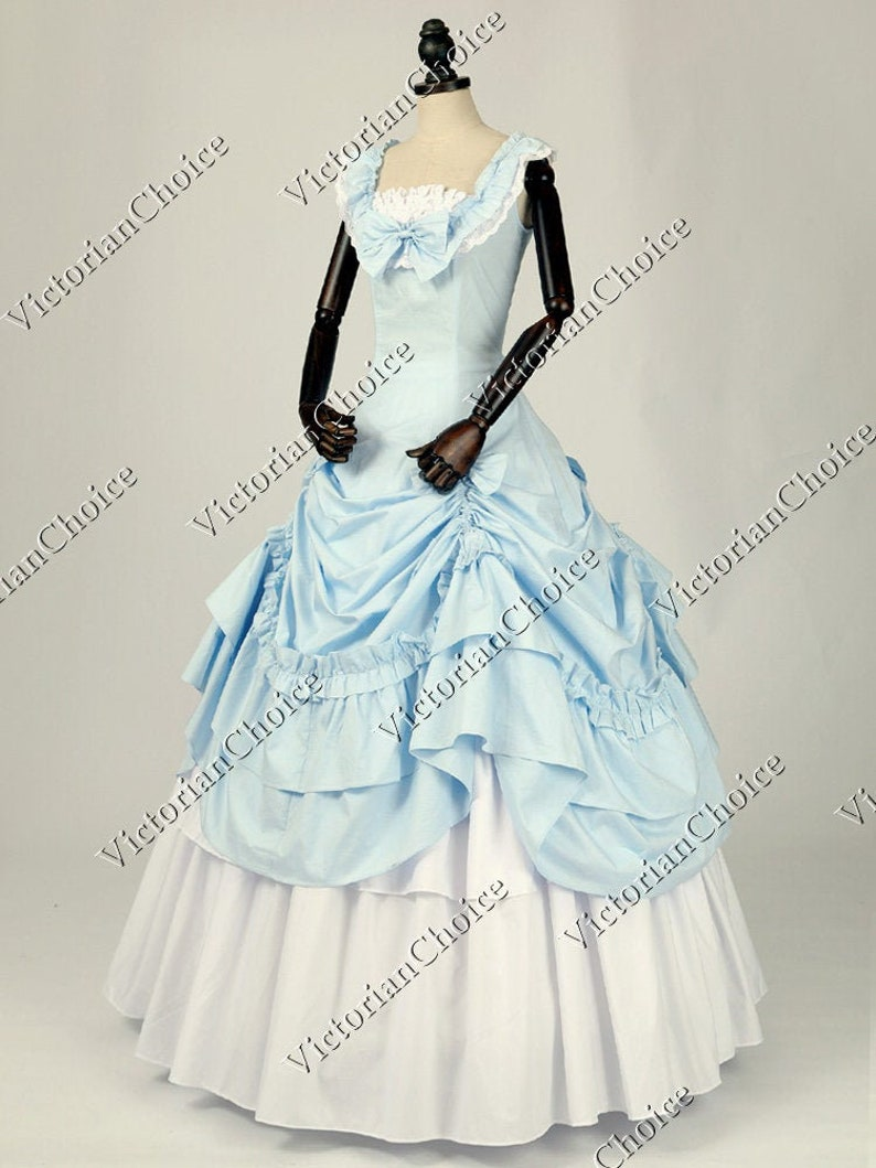Victorian Clothing, Costumes & 1800s Fashion Victorian Southern Belle Civil War Sky Blue Ice Queen Fancy Gown Period Dress Theater Reenactment Costume $165.00 AT vintagedancer.com