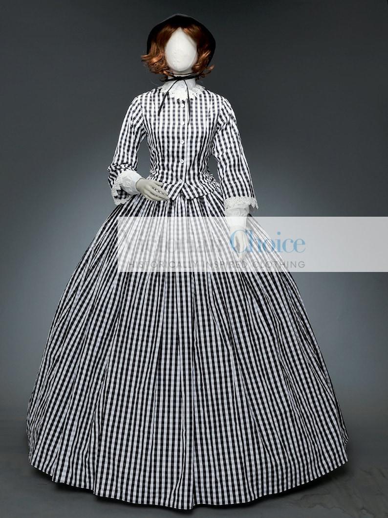 Victorian Dresses | Victorian Ballgowns | Victorian Clothing     Black and White Victorian Civil War Day Dress Dickens Caroler Plaid Dress Prairie Frontier Dress Little Women Theater Reenactment Costume $175.00 AT vintagedancer.com