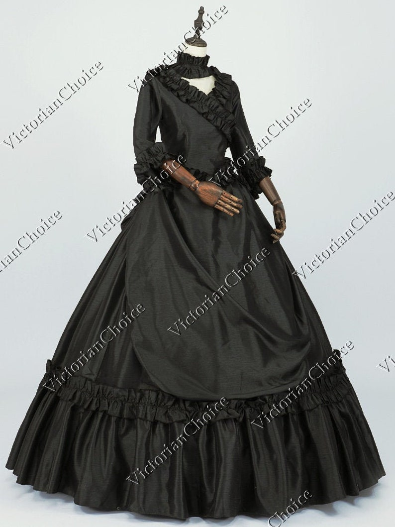 Victorian Dresses | Victorian Ballgowns | Victorian Clothing     Black Victorian Gothic Bustle Dress Taffeta Ball Gown Black Witch Halloween Costume Victorian Vamp Costume Miss Darkness Queen Costume $245.00 AT vintagedancer.com