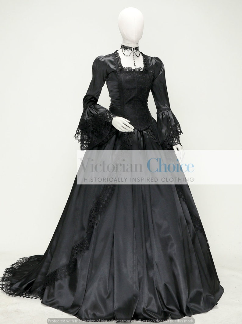 Steampunk Dresses   Women & Girl Costumes     Black Renaissance Lady Dress Marie Antoinette Queen Costume Fantasy Costume Witch Miss Darkness Halloween Costume Theatrical Clothing $185.00 AT vintagedancer.com