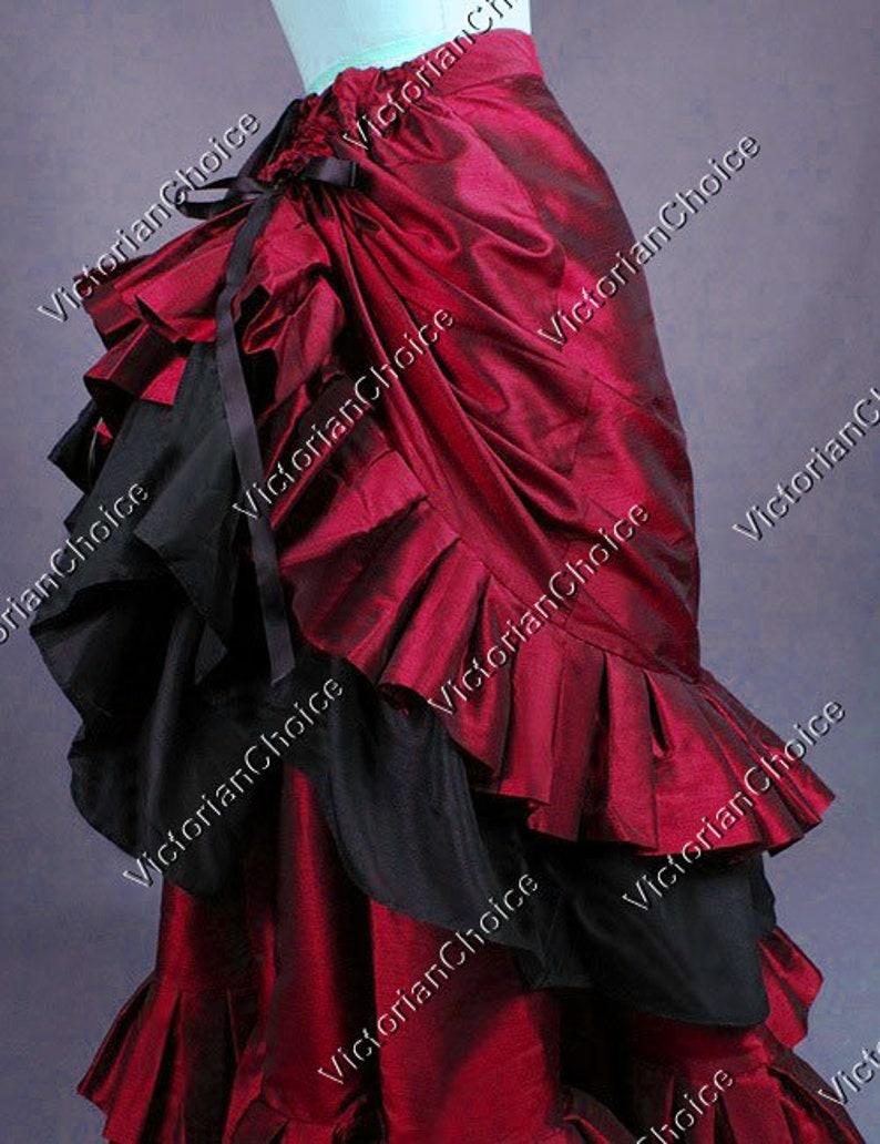 Steampunk Skirts | Bustle Skirts, Lace Skirts, Ruffle Skirts Victorian Edwardian Pleated Burgundy Bustle Walking Skirt Theatre Steampunk Vampire Halloween Costume $139.00 AT vintagedancer.com
