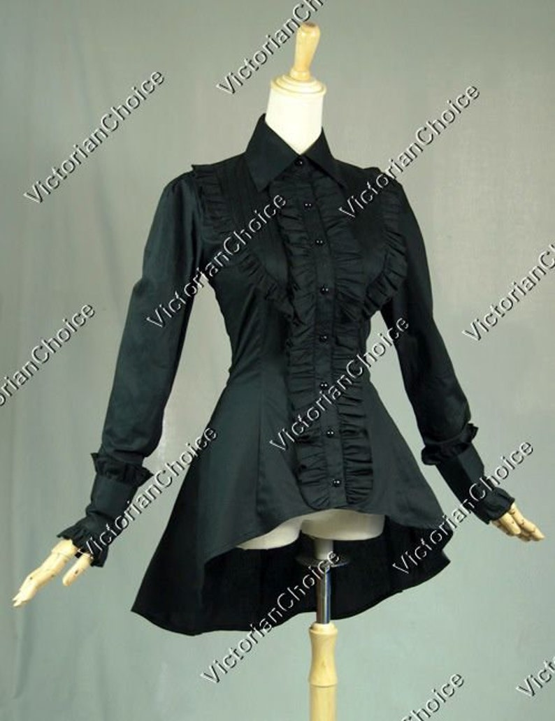Victorian Blouses, Tops, Shirts, Sweaters Ladies Victorian Steampunk Vintage Romantic Black Ruffled Long Sleeve Cotton Blouse Shirt Theatrical Costume $53.95 AT vintagedancer.com