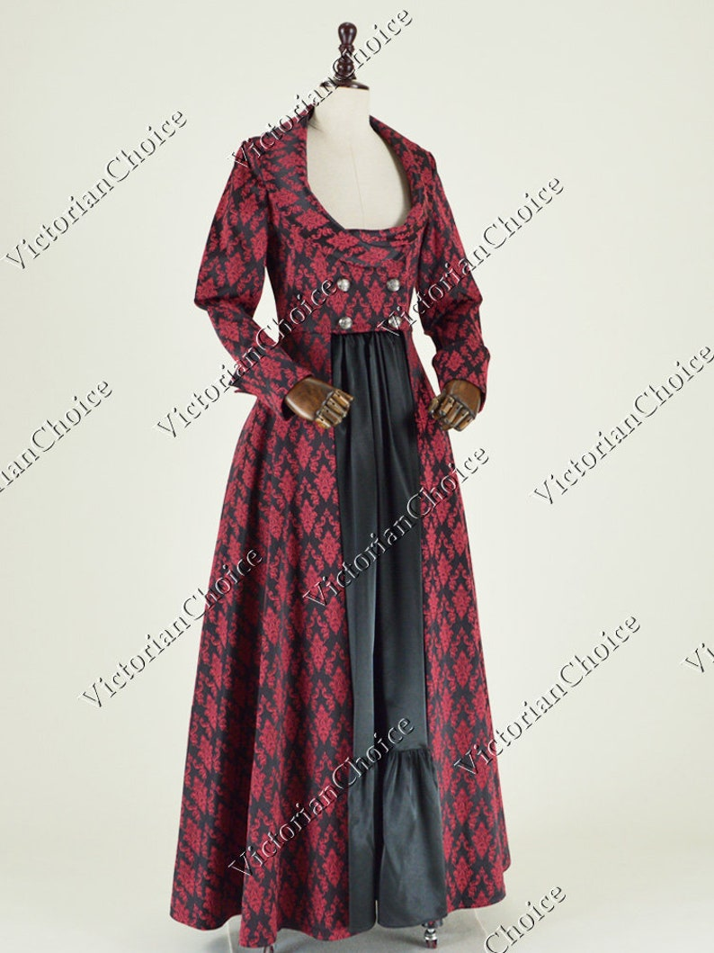 Steampunk Dresses   Women & Girl Costumes     Edwardian Victorian Gothic Sherlock Holmes Steampunk Holiday Brocade Coat Dress Theater Cosplay Comic Con Women Costume $175.00 AT vintagedancer.com