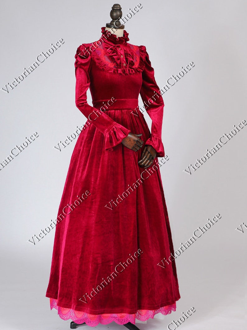 Victorian Clothing, Costumes & 1800s Fashion Victorian Edwardian Christmas Holiday Vintage Dark Queen Velvet Dress Theatrical Adult Women Vampire Halloween Costume $165.00 AT vintagedancer.com