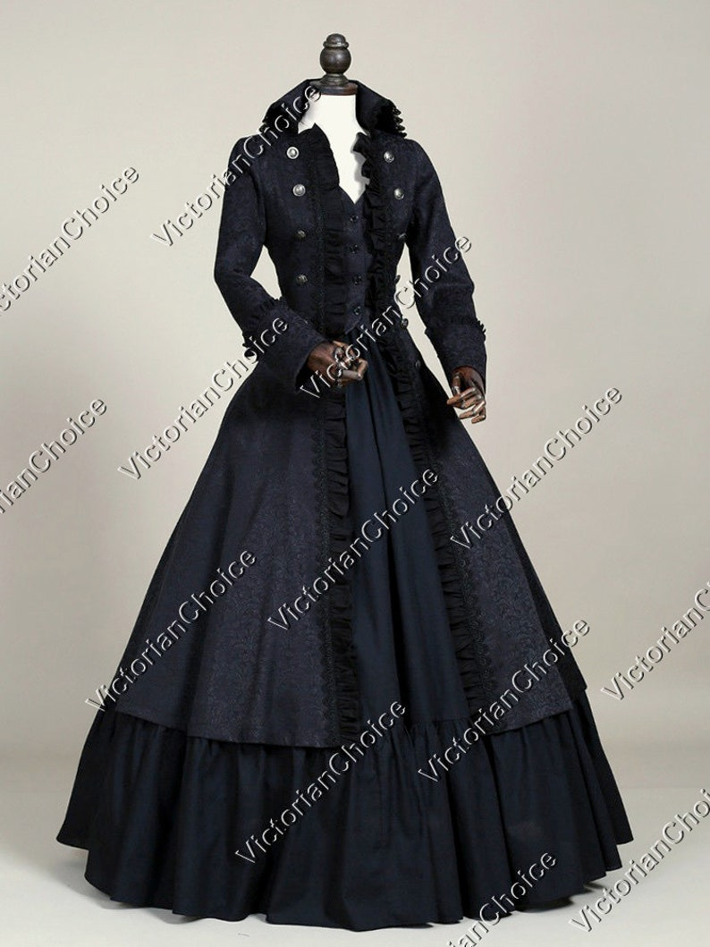 Victorian Dresses | Victorian Ballgowns | Victorian Clothing Victorian Steampunk Gothic Black Military Game of Thrones Coat Dress Women Witch Halloween Costume $185.00 AT vintagedancer.com