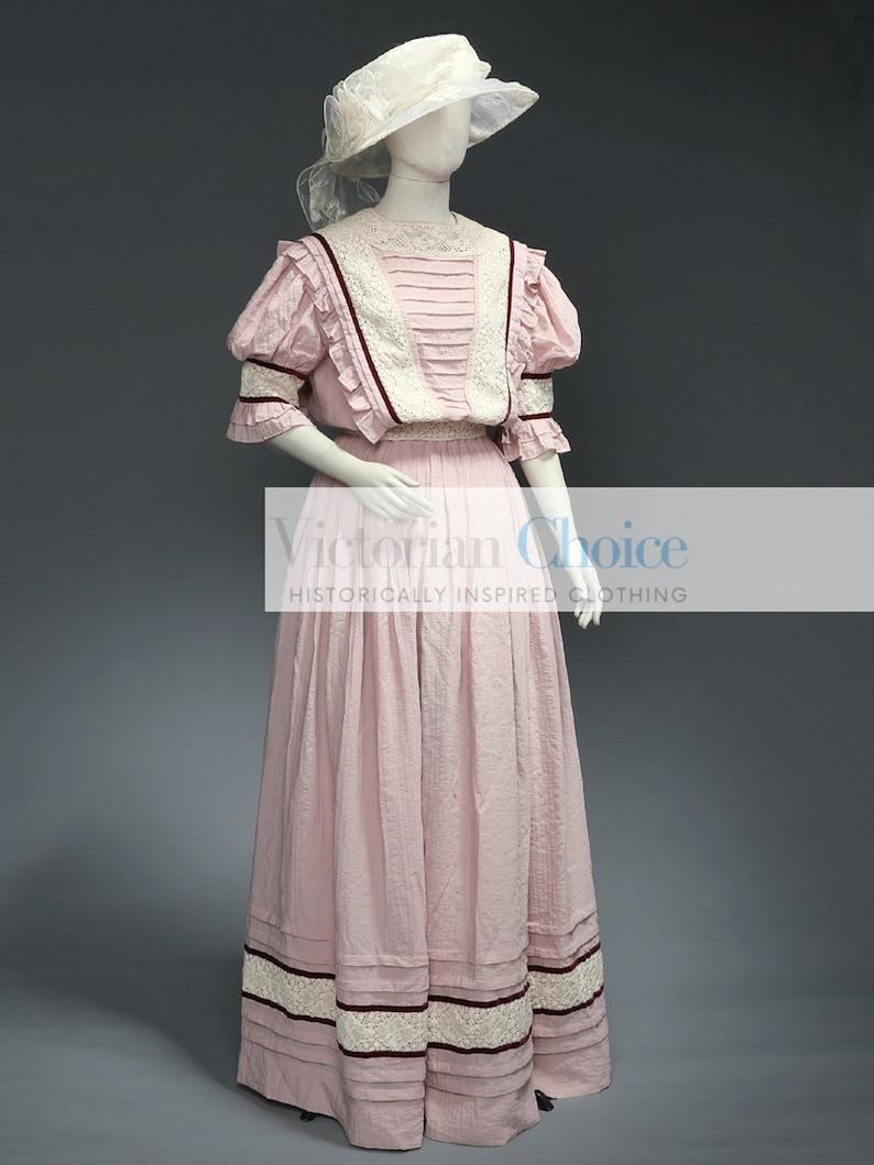 1900s Edwardian Dresses, 1910s Dresses Edwardian 1910s Vintage Dress Downton Abbey Titanic Dress Tea Garden Dress Vintage Wedding Dress Bridal Gown Cotton Crepe Theater $195.00 AT vintagedancer.com