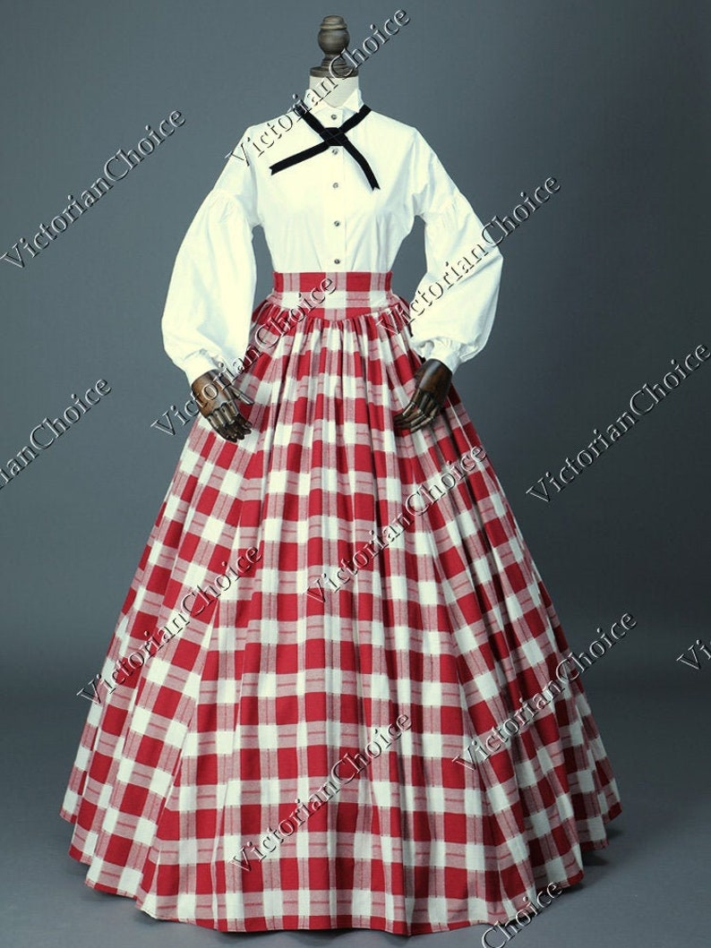 Victorian Dresses | Victorian Ballgowns | Victorian Clothing Civil War Victorian Costume Suffragists Dress Charles Dickens Caroling Red White Tartan Dress Country Maid Theater Halloween Costume $165.00 AT vintagedancer.com