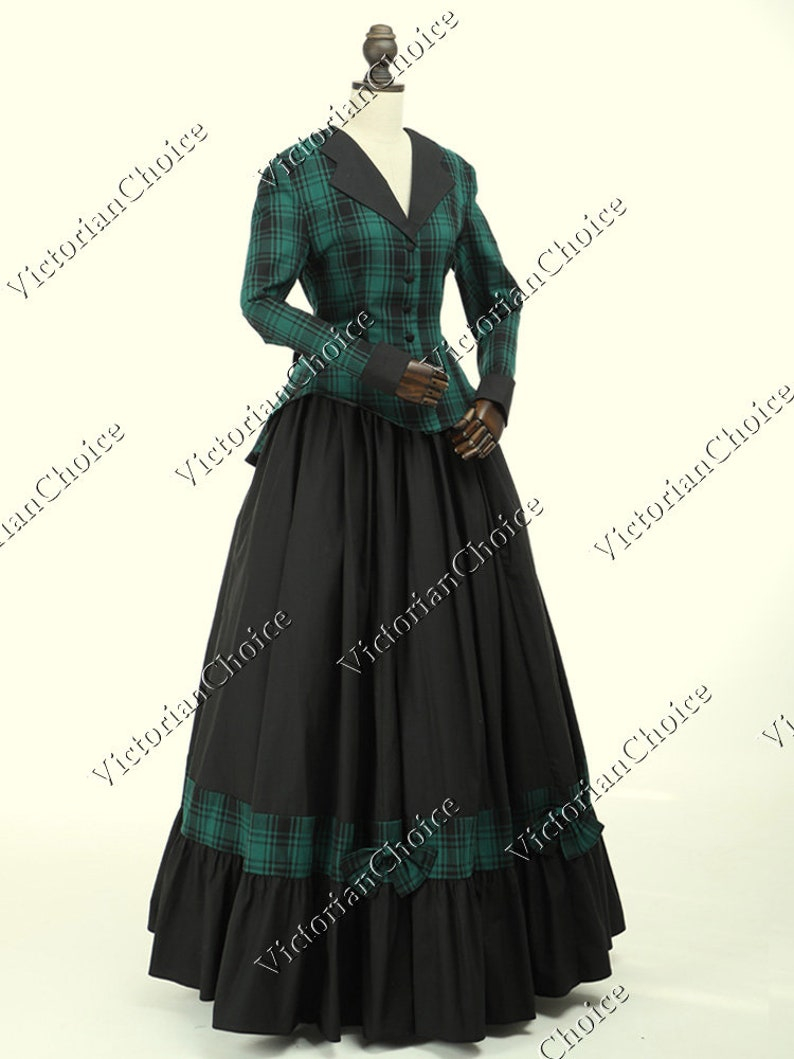 Victorian Dresses | Victorian Ballgowns | Victorian Clothing Civil War Victorian Charles Dickens Faire Christmas Carol Caroler Tartan Dress Theater Women Halloween Costume $165.00 AT vintagedancer.com