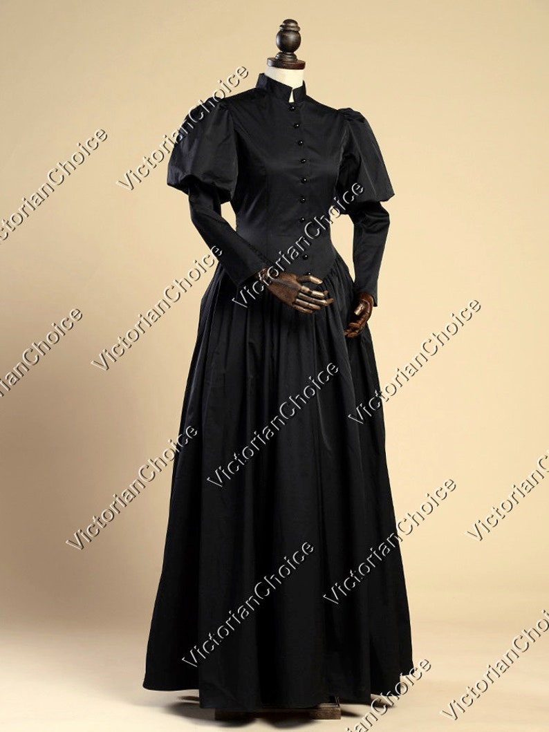 Victorian Clothing, Costumes & 1800s Fashion Black Victorian Maid Dickens Faire Civil War Little Women Frock Dress Witch Halloween Costume $149.00 AT vintagedancer.com