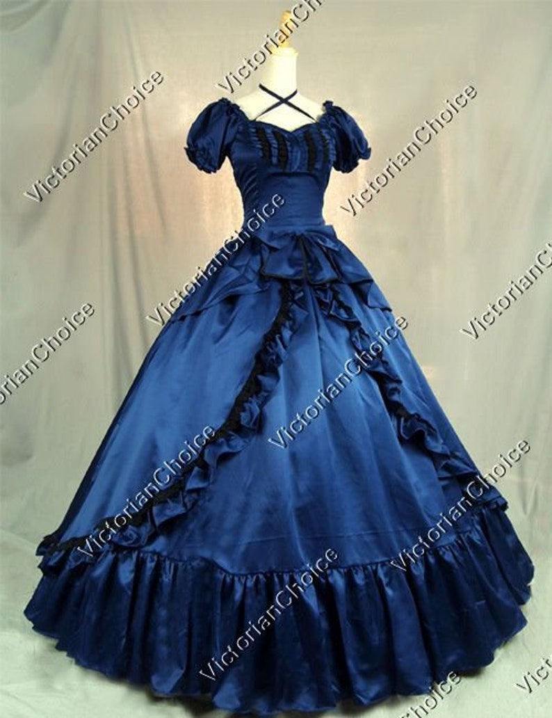 Victorian Dresses | Victorian Ballgowns | Victorian Clothing Navy Victorian Southern Belle Civil War Scarlett OHara Ball Gown Princess Dress Reenactment Theatrical Witch Halloween Costume $175.00 AT vintagedancer.com