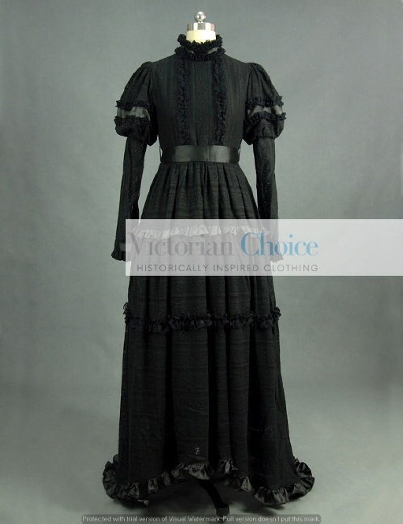 1900 -1910s Edwardian Fashion, Clothing & Costumes     Black Victorian Edwardian Lace Dress Mourning Dress Gothic Witch Darkness Costume Addams Family Morticia Halloween Costume for Women $225.00 AT vintagedancer.com